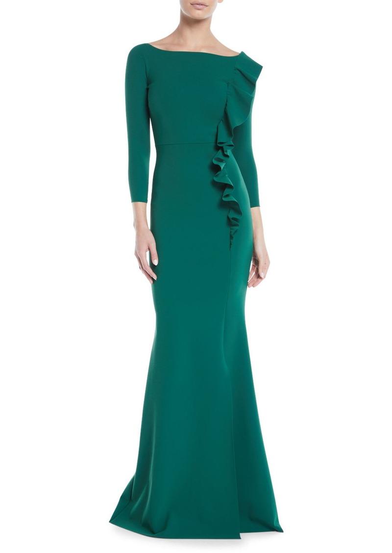 51734d0efa Chiara Boni La Petite Robe Dilia Boat-Neck Trumpet Evening Gown w/ Ruffled  Trim