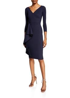Chiara Boni La Petite Robe Fadile V-Neck 3/4-Sleeve Dress with Side Ruffle Detail