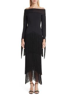 Chiara Boni La Petite Robe Hadel Fringe Trim Gown