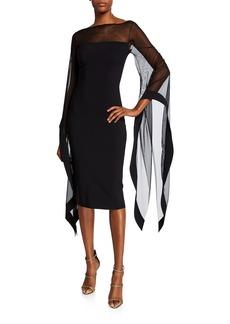 Chiara Boni La Petite Robe High-Neck Sheer Wing-Sleeve Cocktail Dress
