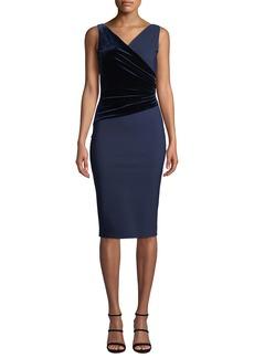 Chiara Boni La Petite Robe Hilaria Sleeveless Velvet-Wrap Dress