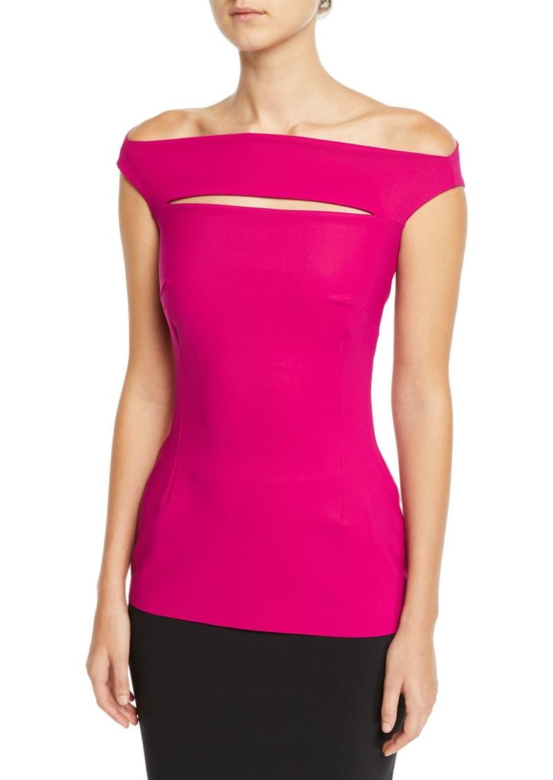 Chiara Boni La Petite Robe Karen Slit-Front Off-the-Shoulder Top