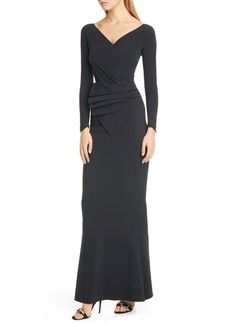 Chiara Boni La Petite Robe Kaya Long Sleeve Ruffle Gown