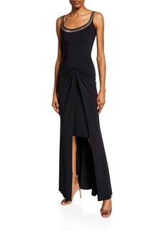 000bc43ea5c97 Chiara Boni La Petite Robe Kinga Beaded Scoop-Neck Sleeveless Gown w   Knotted Skirt