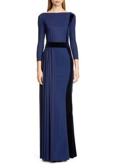 Chiara Boni La Petite Robe Macalyn Velvet Trim Column Gown