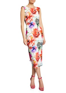 Chiara Boni La Petite Robe Madereh Floral-Print Sleeveless Midi Dress w/ Flounce Detail