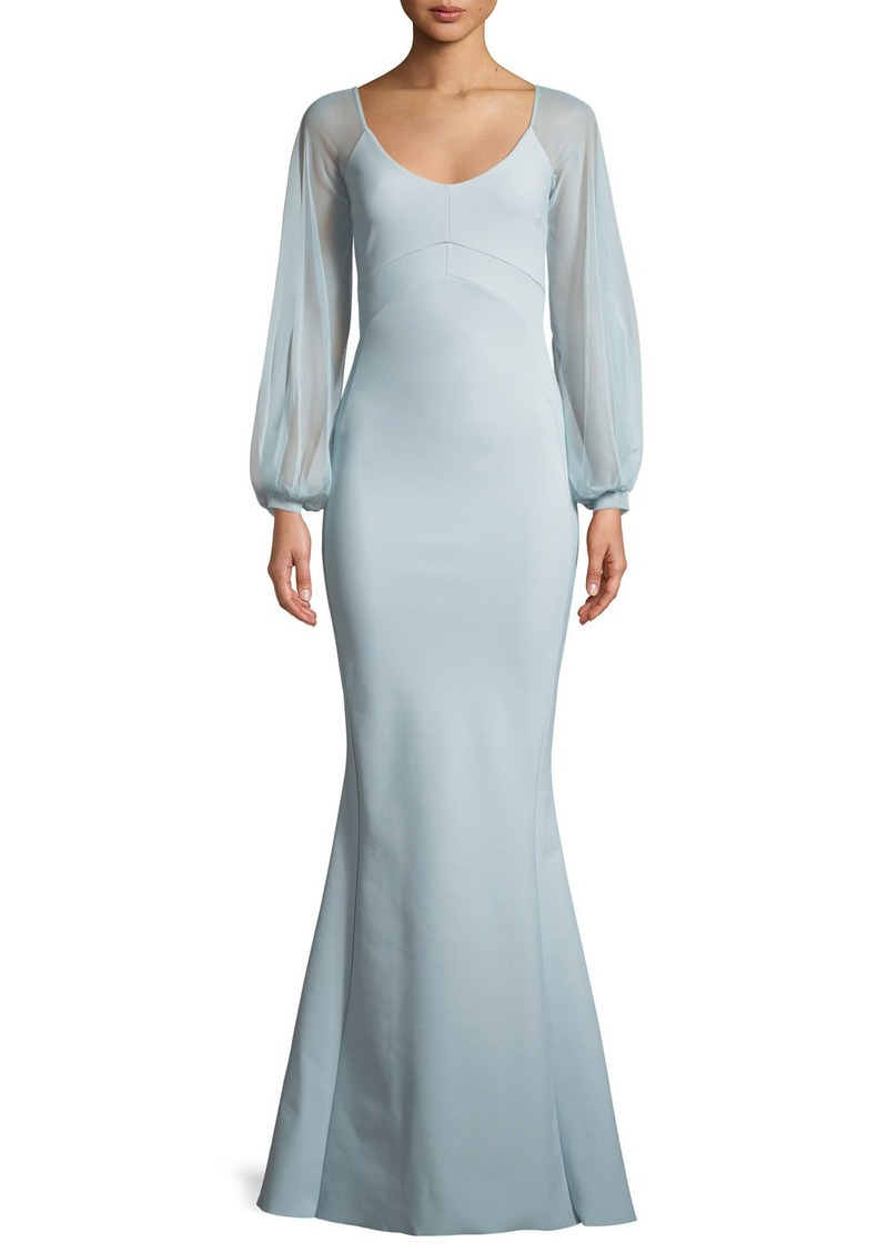 Chiara Boni La Petite Robe Marlo Illusion-Sleeve Mermaid Gown