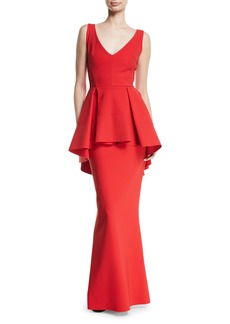 Chiara Boni La Petite Robe Mavi Sleeveless Gown with High-Low Peplum