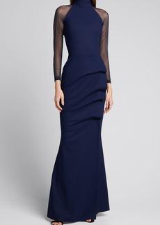 Chiara Boni La Petite Robe Maylys Mock-Neck Long-Sleeve Illusion Gown