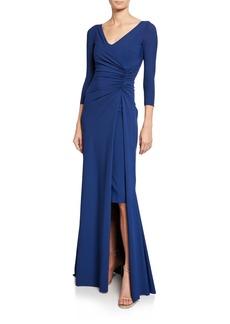 Chiara Boni La Petite Robe Piene V-Neck 3/4-Sleeve Gathered Overlay Gown