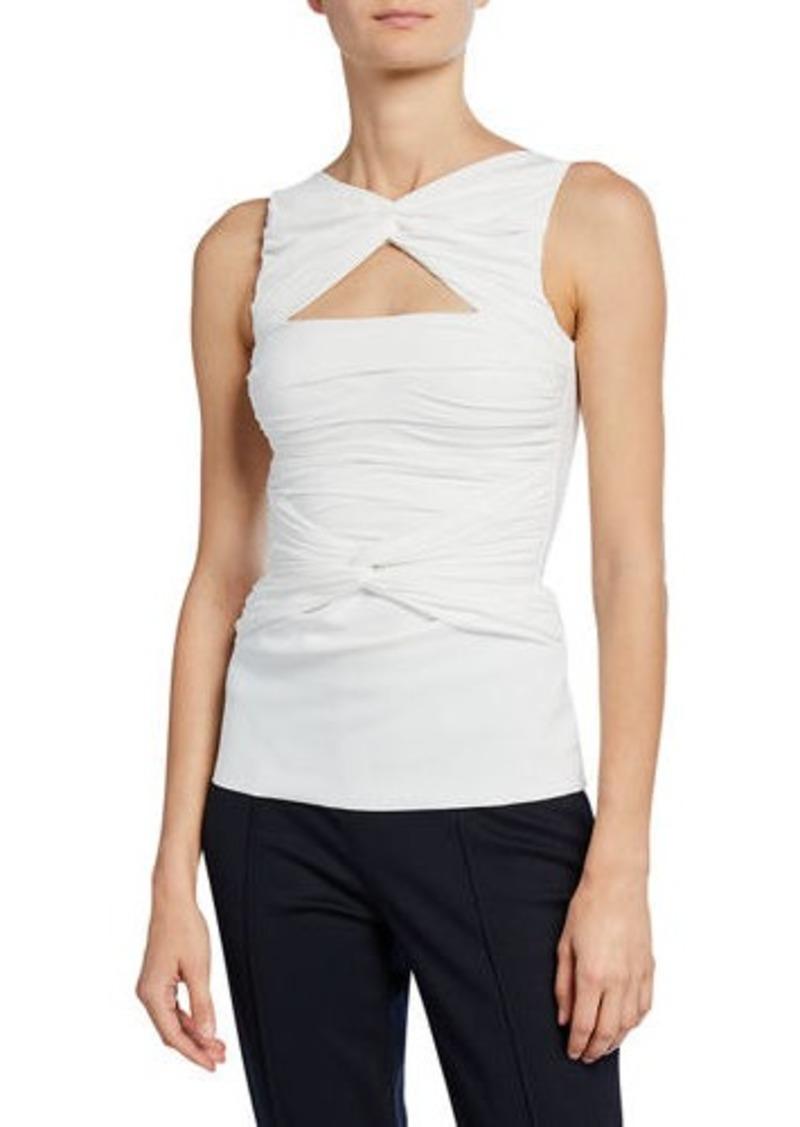 Chiara Boni La Petite Robe Puk Sleeveless Shirred Cutout Top