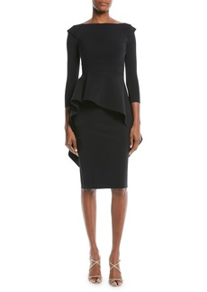 Chiara Boni La Petite Robe Quiggley Long-Sleeve Peplum Dress