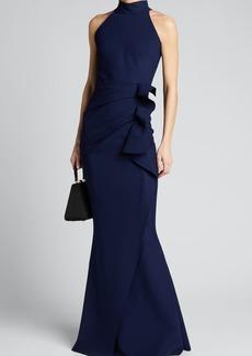 Chiara Boni La Petite Robe Side Ruched Halter Gown with Asymmetric Ruffle