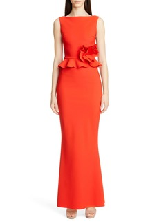 Chiara Boni La Petite Robe Side Ruffle Evening Dress