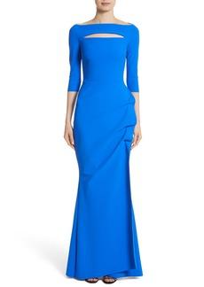 Chiara Boni La Petite Robe Slit Bodice Drape Front Gown