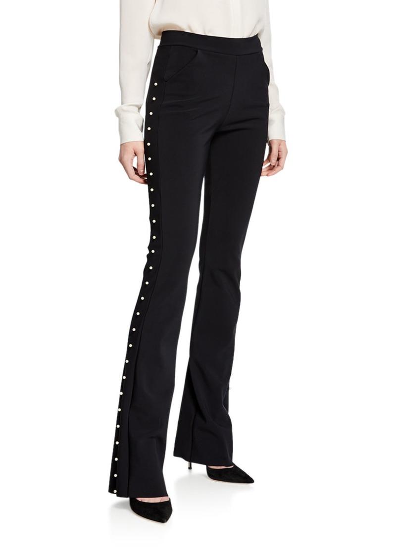 Chiara Boni La Petite Robe Tulay Straight-Leg Pants with Pearly Trim