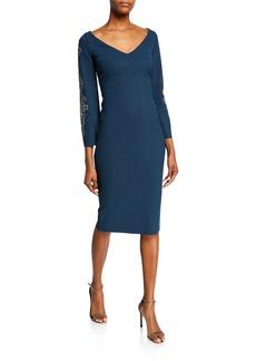 Chiara Boni La Petite Robe V-Neck Long-Sleeve Sheath Dress with Embroidery