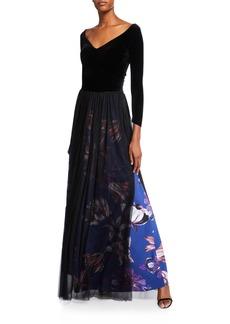 Chiara Boni La Petite Robe V-Neck Long-Sleeve Velvet Bodice Gown w/ Sheer Overlay Skirt