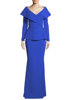 Chiara Boni La Petite Robe Venussia Portrait-Neck Peplum Gown