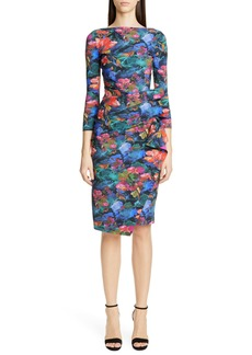 Chiara Boni La Petite Robe Zelma Side Ruffle Floral Print Cocktail Dress