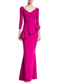 Chiara Boni La Petite Robe Cicco Mermaid Gown w/ Asymmetric Peplum