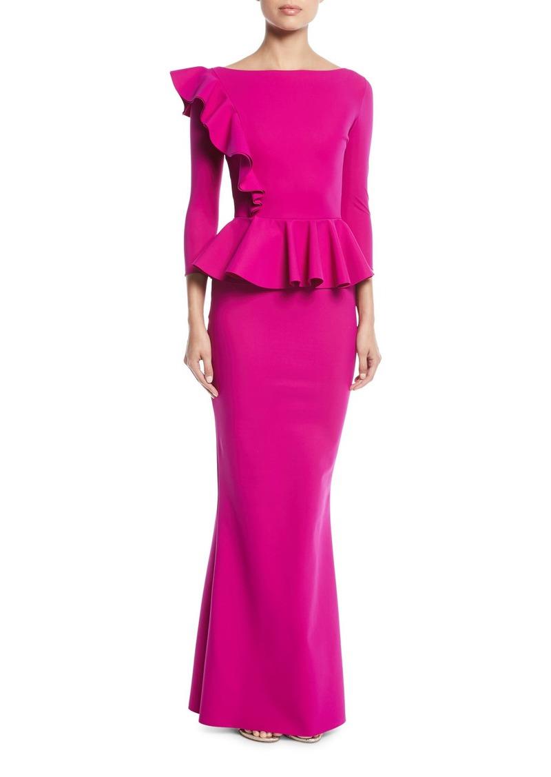 3df677ad60b336 Chiara Boni La Petite Robe Dinara Long Peplum Gown w/ Asymmetric Ruffle