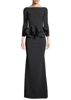 Chiara Boni La Petite Robe Dulcinea Peplum Pearly-Bead Gown