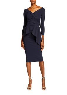 Chiara Boni La Petite Robe Duth 3/4-Sleeve Peplum Sheath Dress
