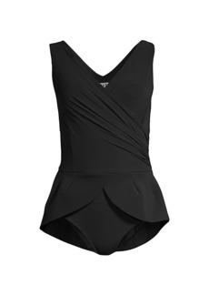 Chiara Boni La Petite Robe Dutty Peplum One-Piece Swimsuit