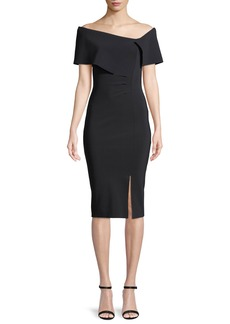 Chiara Boni La Petite Robe Egida Asymmetric Off-the-Shoulder Cocktail Dress