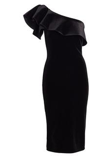 Chiara Boni La Petite Robe Elisse Ruffled One-Shoulder Velvet Dress
