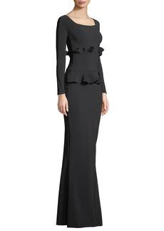 Chiara Boni La Petite Robe Erin Long-Sleeve Gown w/ Double Peplum Waist