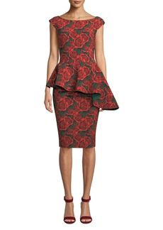 Chiara Boni La Petite Robe Etheline Asymmetric Peplum Rose Dress