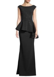 Chiara Boni La Petite Robe Etheline Beaded Cap-Sleeve Asymmetric Peplum-Waist Trumpet Evening Gown
