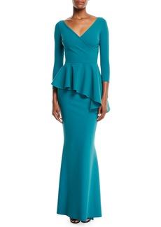 Chiara Boni La Petite Robe Gitana V-Neck Gown w/ Peplum Waist