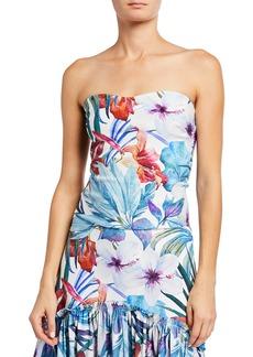 Chiara Boni La Petite Robe Halima Floral Print Strapless Top