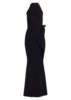 Chiara Boni La Petite Robe Halter Ruffle Gown
