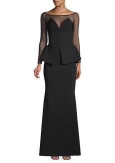 Chiara Boni La Petite Robe Illusion Floor-Length Gown