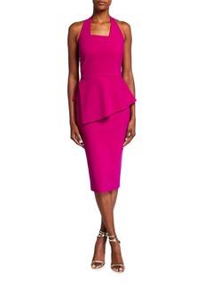 Chiara Boni La Petite Robe Jilliam Asymmetric Peplum Jersey Halter Dress