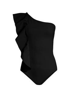 Chiara Boni La Petite Robe Jytte Ruffle One-Shoulder One-Piece Swimsuit
