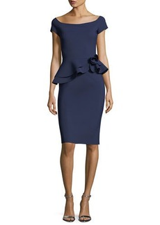 Chiara Boni La Petite Robe Lady Cap-Sleeve Peplum Cocktail Dress