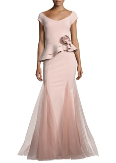 Chiara Boni La Petite Robe Lady Cap-Sleeve Peplum Mermaid Gown