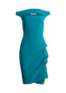 Chiara Boni La Petite Robe Melania Off-The-Shoulder Side Ruched Cut Out Sheath Dress