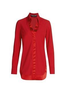 Chiara Boni La Petite Robe Mias Ramie Satin-Trimmed Collar V-Neck Tunic