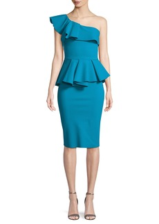Chiara Boni La Petite Robe Mika One-Shoulder Peplum Cocktail Dress