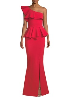 Chiara Boni La Petite Robe Mika Peplum One-Shoulder Gown