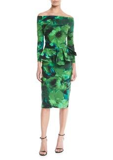 Chiara Boni La Petite Robe Nabella Off-the-Shoulder Floral Peplum Dress