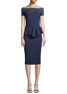 Chiara Boni La Petite Robe Nabelle Illusion Dress w/ Peplum Waist
