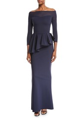 b6b8b4ea7ce1 Chiara Boni La Petite Robe Nabelle Off-the-Shoulder Illusion Gown w  Peplum  ...