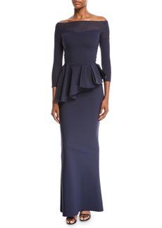 Chiara Boni La Petite Robe Nabelle Off-the-Shoulder Illusion Gown w/ Peplum Waist